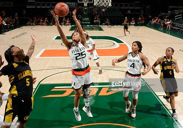Miami forward Khaila Prather rebounds during an NCAA basketball game between Grambling State University Tigers and the University of Miami Hurricanes...