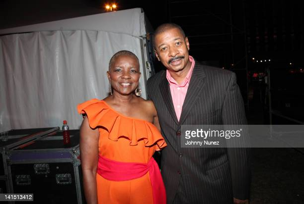 Miami Gardens Mayor Shirley Gibson and actor comedian and director Robert Townsend attend Jazz In The Gardens at Sunlife Stadium on March 17 2012 in...