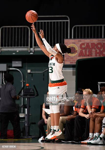 Miami guard Adrienne Motley shoots during an NCAA basketball game between Grambling State University Tigers and the University of Miami Hurricanes on...
