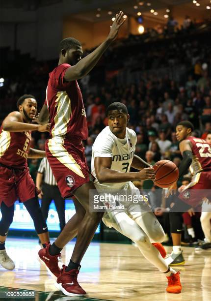 Miami guard Anthony Lawrence II drives to the basket against Florida State University on Sunday January 27 2019 at the Watsco Center in Coral Gables...
