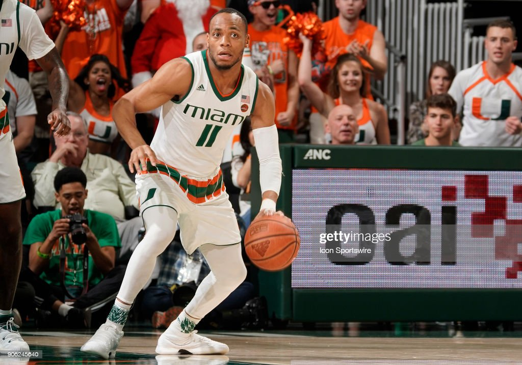 Miami guard Bruce Brown, Jr. (11) plays during a college basketball game between the Duke University Blue Devils and the University of Miami Hurricanes on January 15, 2018 at the Watsco Center, Coral Gables, Florida. Duke defeated Miami 83-75.