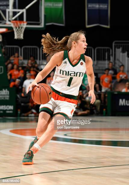 Miami guard Laura Cornelius dribbles during a women's college basketball game between the Georgia Tech Yellow Jackets and the University of Miami...