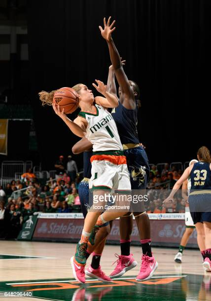 Miami guard Laura Cornelius shoots during a women's college basketball game between the Georgia Tech Yellow Jackets and the University of Miami...