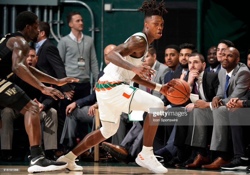 Miami guard Lonnie Walker IV (4) plays during a college basketball game between the Wake Forest University Demon Deacons and the University of Miami Hurricanes on February 7, 2018 at the Watsco Center, Coral Gables, Florida. Miami defeated Wake Forest 87-81.