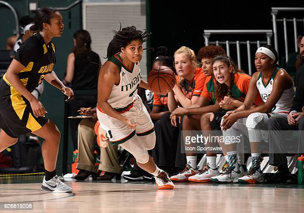 Miami guard/forward Shaneese Bailey dribbles during an NCAA basketball game between Grambling State University Tigers and the University of Miami...