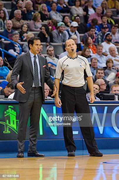 Miami Head coach Erik Spolstra trying to explain to the referee versus Oklahoma City Thunder November 7 at the Chesapeake Energy Arena Oklahoma City...
