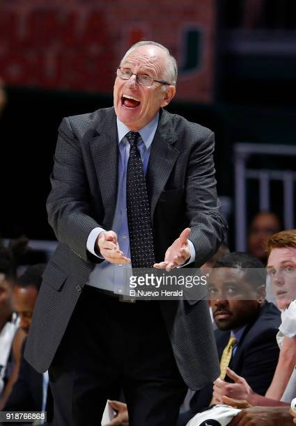 Miami head coach Jim Larranaga gives instructions to his team during action against Boston University at the Watsco Center in Coral Gables Fla on...