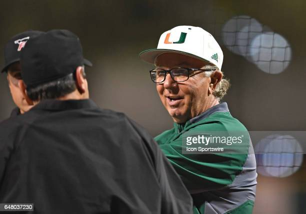 Miami Head Coach Jim Morris during a college baseball game between the Dartmouth College Big Green and the University of Miami Hurricanes on March 3...