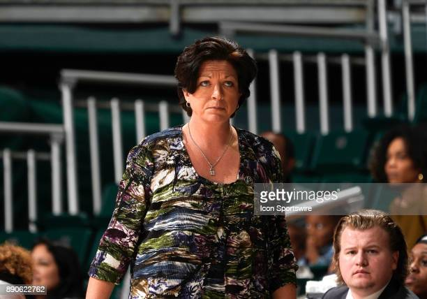 Miami Head Women's Basketball Coach Katie Meier looks on during a women's college basketball game between the University of Kentucky Wildcats and the...