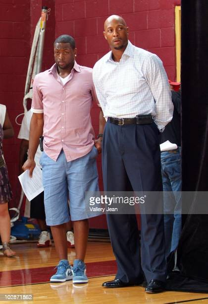 Miami HEAT AllStar Dwyane Wade and Alonzo Mourning attends the Summer Groove media update at the Overtown Youth Center on July 13 2010 in Miami...