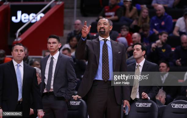 Miami Heat Assistant Coach Juwan Howard calls out a play during the fourth quarter of the game against the Detroit Pistons at Little Caesars Arena on...