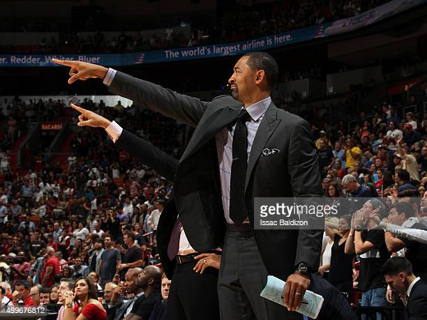 Miami Heat assistant coach Juwan Howard during the game against the Philadelphia 76ers on November 21 2015 at AmericanAirlines Arena in Miami Florida...