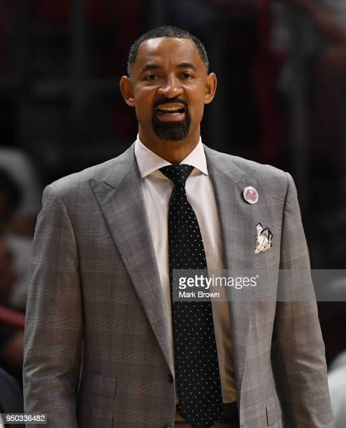 Miami Heat assistant coach Juwan Howard in action in the first quarter against the Philadelphia 76ers during Game Four of Round One of the 2018 NBA...