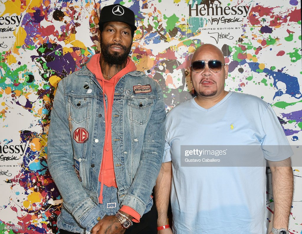 Miami Heat basketball player James Johnson and Miami-based Hip hop artist, Fat Joe attend Hennessy V.S Limited Edition by JonOne launch party at Cafeina on July 21, 2017 in Wynwood Miami. The Limited Edition release by JonOne, which features a colorful, vibrant design, is the seventh in an ongoing series of collaborations between Hennessy V.S and several internationally renowned artists.