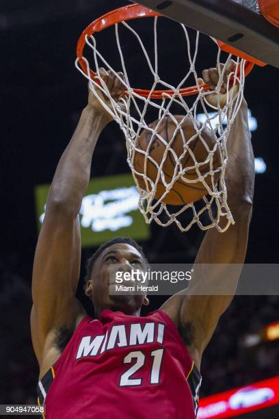 Miami Heat center Hassan Whiteside dunks the ball to score in the first quarter against the Milwaukee Bucks on Sunday Jan 14 2018 at the...