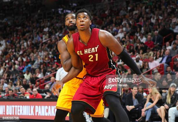 Miami Heat center Hassan Whiteside fights for position under the basket against Cleveland Cavaliers center Tristan Thompson during the third quarter...