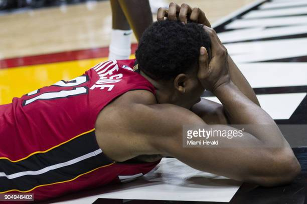 Miami Heat center Hassan Whiteside reacts after being fouled by Milwaukee Bucks Malcolm Brogdon in the second quarter on Sunday Jan 14 2018 at the...