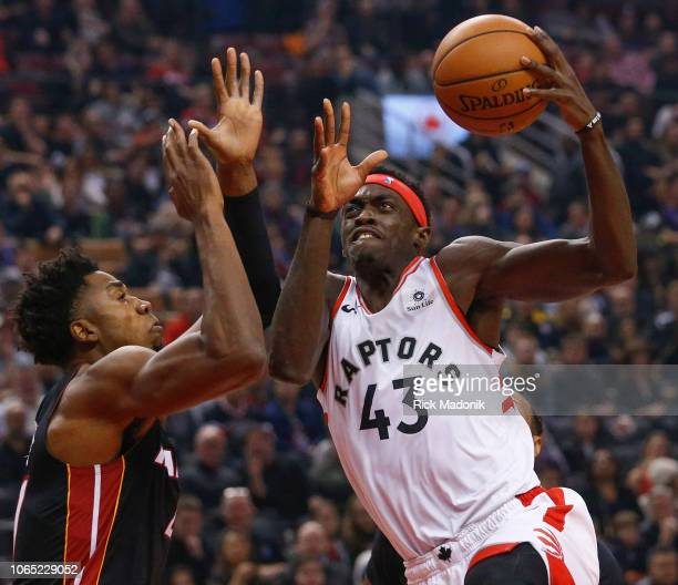 Miami Heat center Hassan Whiteside tries to stop Toronto Raptors forward Pascal Siakam Toronto Raptors vs New Orleans Pelicans in 1st half action of...