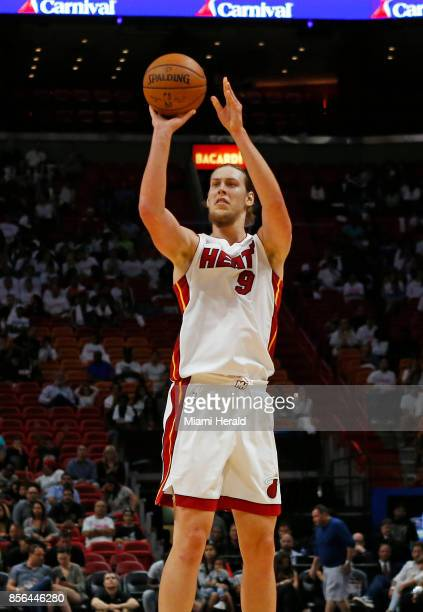Miami Heat center Kelly Olynyk attempts a shot during the second quarter of an NBA preseason basketball game against the Atlanta Hawks on Sunday Oct...