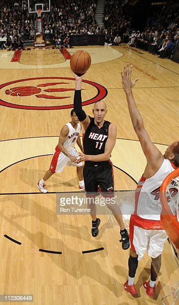 Miami Heat center Zydrunas Ilgauskas goes for a jump shot during the game against the Toronto Raptors on April 13 2011 at the Air Canada Centre in...