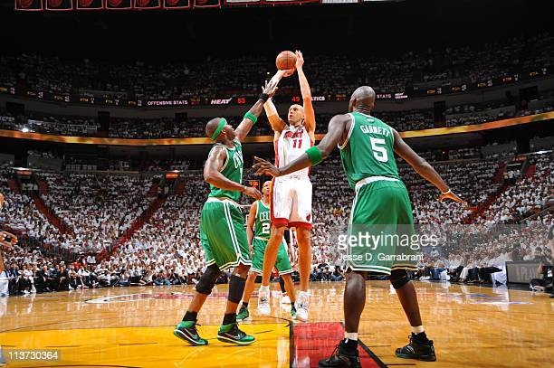 Miami Heat center Zydrunas Ilgauskas splits defense during Game Two of the Eastern Conference Semifinals against the Boston Celtics in the 2011 NBA...