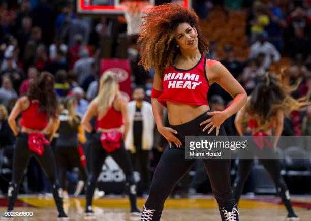 Miami Heat cheerleaders dance and celebrate after the Heat defeated the Utah Jazz 103102 in the fourth quarter on Sunday Jan 7 2018 at the...