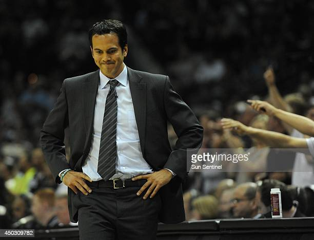 Miami Heat coach Erik Spoelstra is unhappy as his team commits a turnover against the San Antonio Spurs during Game 2 of the NBA Finals at the ATT...