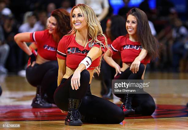 Miami Heat dancer performs during a game against the Charlotte Hornets at American Airlines Arena on March 17 2016 in Miami Florida NOTE TO USER User...