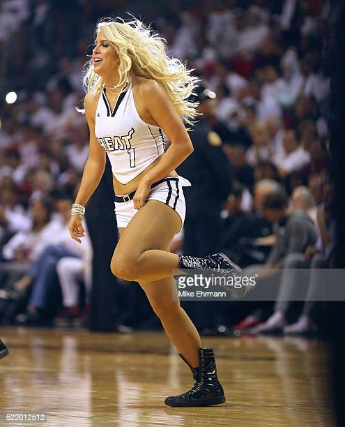 Miami Heat dancer performs during Game One of the Eastern Conference Quarterfinals against the Charlotte Hornets during the 2016 NBA Playoffs at...