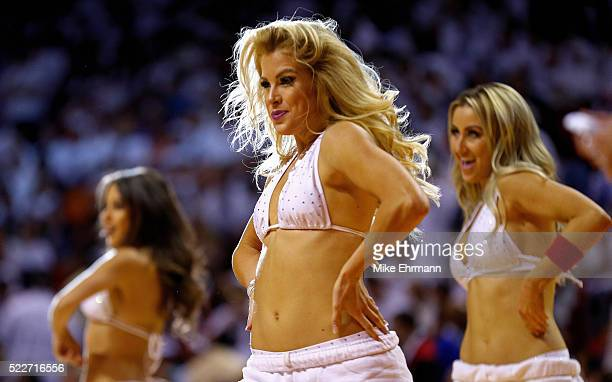 Miami Heat dancer performs during game two of the Eastern Conference Quarterfinals of the 2016 NBA Playoffs against the Charlotte Hornets at American...