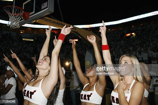 Miami Heat Dancers celebrate after game six of the NBA Finals during the 2006 NBA Playoffs at the American Airlines Arena on June 20 2006 in Miami...