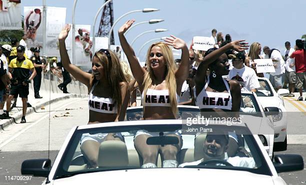 Miami Heat Dancers celebrate during the victory parade and celebration at American Airlines Arena on June 23 2006 in Miami Florida