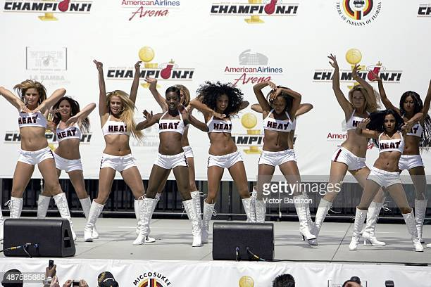 Miami Heat dancers entertain the crowd during the victory parade at American Airlines Arena on June 23 2006 in Miami Florida NOTE TO USER User...