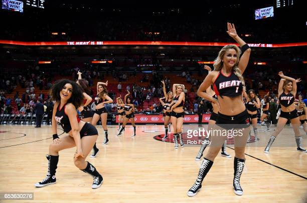 Miami Heat dancers perform after the game against the New Orleans Pelicans at American Airlines Arena on March 15 2017 in Miami Florida NOTE TO USER...