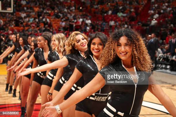 Miami Heat dancers perform during the game against the Brooklyn Nets on March 31st 2018 at American Airlines Arena in Miami Florida NOTE TO USER User...