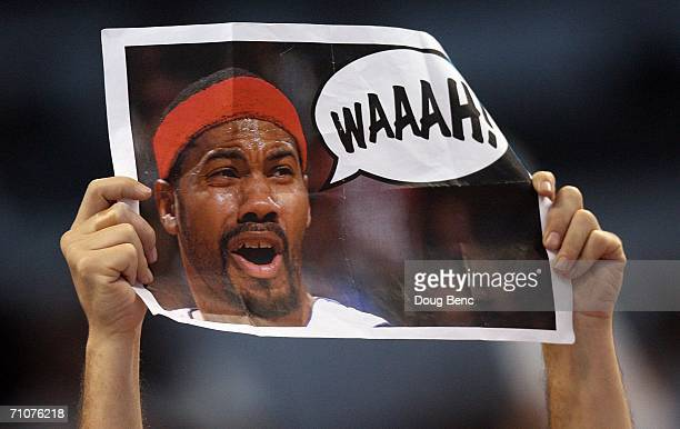Miami Heat fan holds up a sign heckling Rasheed Wallace of the Detroit Pistons in game four of the Eastern Conference Finals during the 2006 NBA...