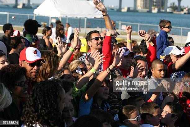 Miami Heat fans applaud during the Miami Heat Family Festival on March 26 2006 at the American Airlines Arena in Miami Florida NOTE TO USER User...