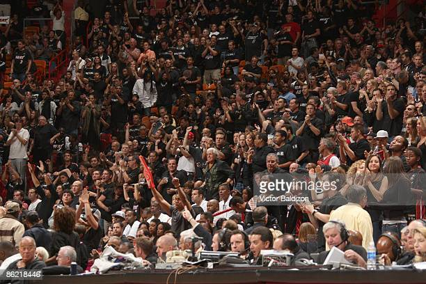 Miami Heat Fans cheer their team on against the Atlanta Hawks in Game Three of the Eastern Conference Quarterfinals during the 2009 NBA Playoffs at...