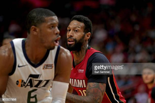 Miami Heat forward James Johnson defends against Utah Jazz guard Joe Johnson on Sunday Jan 7 2018 at the AmericanAirlines Arena in Miami Fla