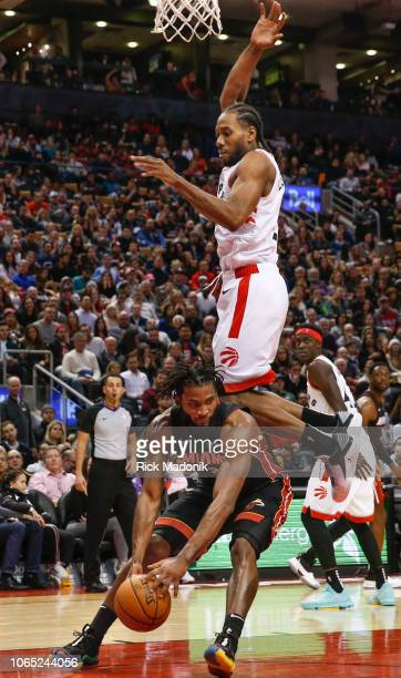 Miami Heat forward Justise Winslow gets Toronto Raptors forward Kawhi Leonard up in the air and an easy foul call Toronto Raptors vs New Orleans...