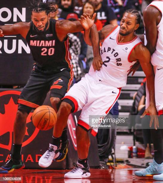 Miami Heat forward Justise Winslow looks to stop Toronto Raptors forward Kawhi Leonard and manages to do so Toronto Raptors vs New Orleans Pelicans...