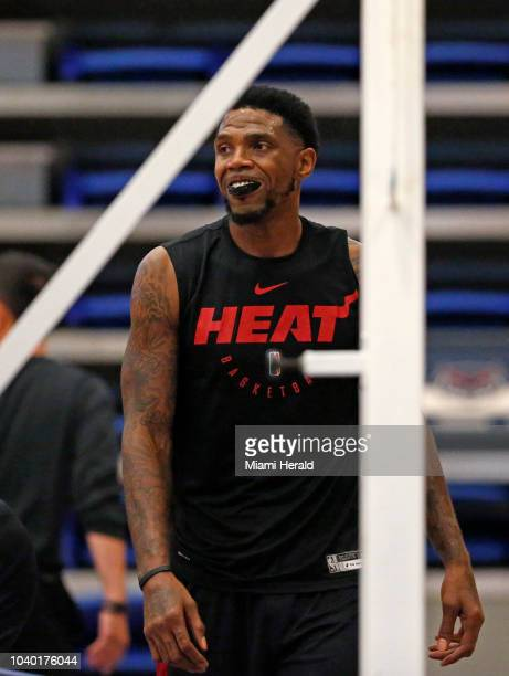 Miami Heat forward Udonis Haslem runs drills during practice on the first day of Miami Heat training camp in preparation for the 201819 NBA season at...