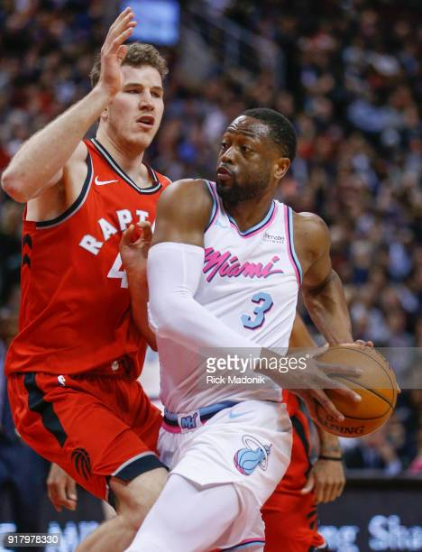 Miami Heat guard Dwyane Wade goes to the bucket against Toronto Raptors center Jakob Poeltl Toronto Raptors vs Miami Heat in 2nd half action of NBA...
