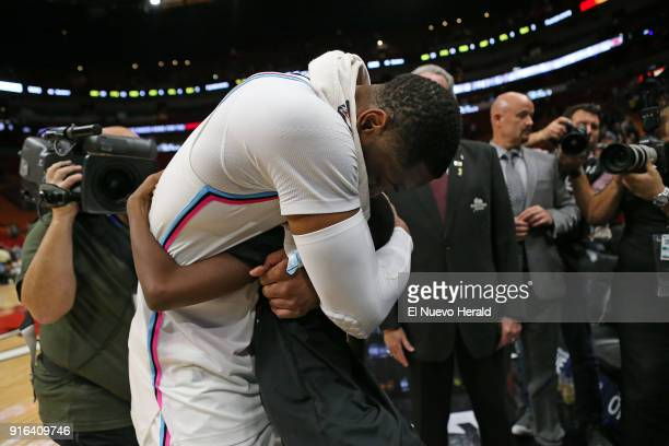 Miami Heat guard Dwyane Wade hugs his son Zion after a 9185 win against the Milwaukee Bucks at the AmericanAirlines Arena in Miami on Friday Feb 9...