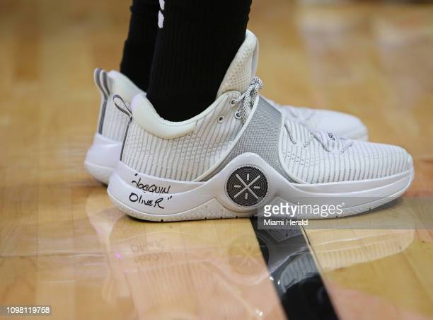 Miami Heat guard Dwyane Wade's shoe bears the name of Parkland school shooting victim Joaquin Oliver who was buried with a Dwyane Wade jersey during...