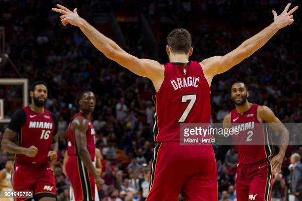Miami Heat guard Goran Dragic reacts after scoring a threepoint shot in fourth quarter against the Milwaukee Bucks on Sunday Jan 14 2018 at the...