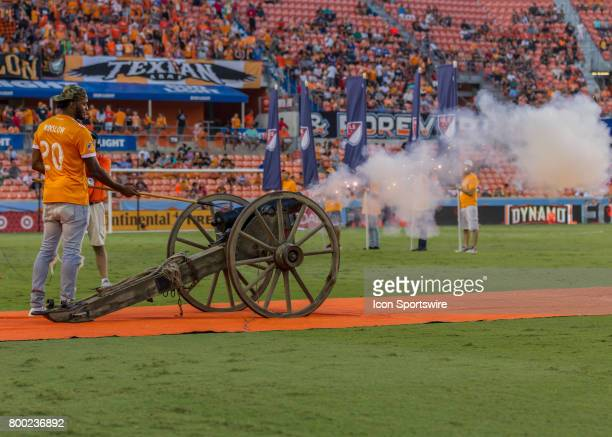 Miami Heat guard Justise Winslow fired the cannon El Capitan before the MLS match between Dallas FC and Houston Dynamo on June 23 2017 at BBVA...