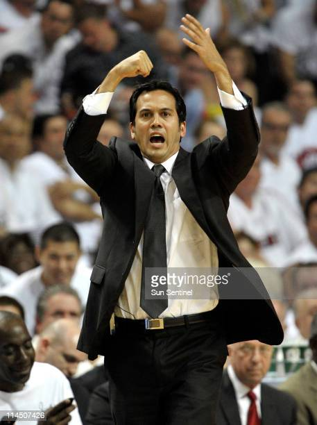 Miami Heat head coach Erik Spoelstra calls a play in the first quarter during Game 3 of the NBA Eastern Conference Finals at the American Airlines...