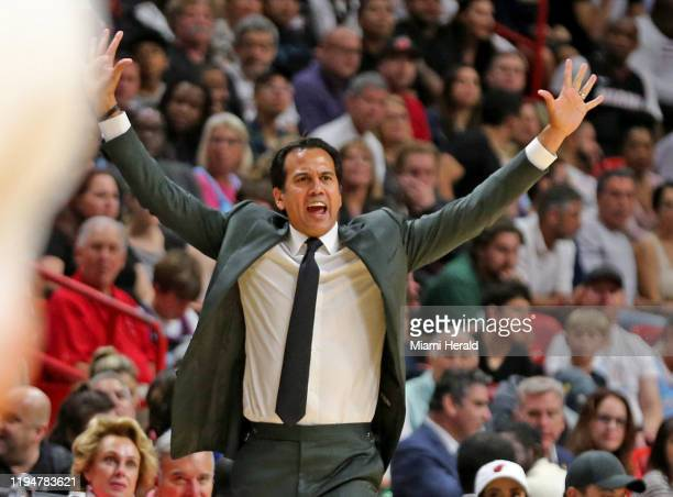Miami Heat head coach Erik Spoelstra on the sidelines against the San Antonio Spurs at the AmericanAirlines Arena in Miami on Wednesday, Jan. 15,...