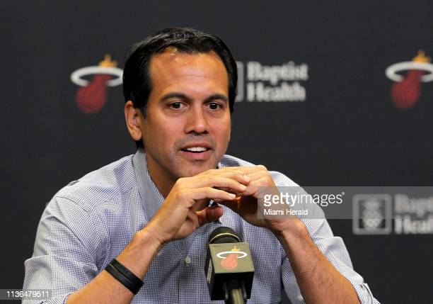 Miami Heat head coach Erik Spoelstra recaps several topics from this season including Heat's performance and Dwyane Wade retirement at the American...